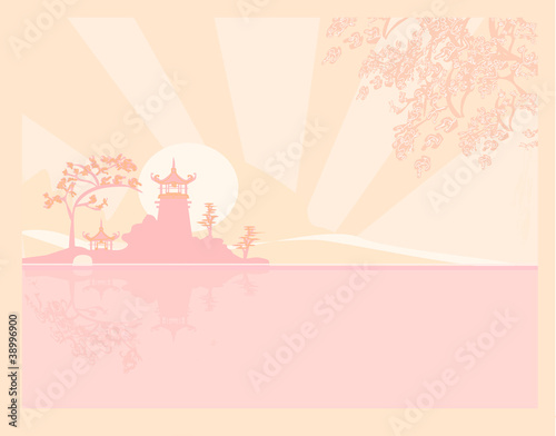 old paper with Asian Landscape - 38996900