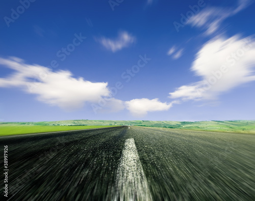 Road with motion blur and strong perspective