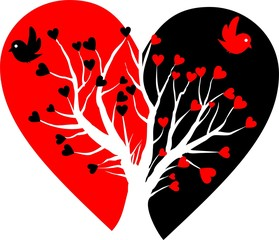 broken heart with white tree and two birds