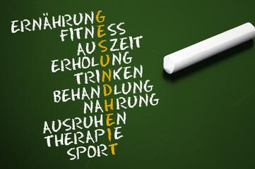 Tafel mit Gesundheit