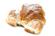 Fresh and tasty croissant on the white