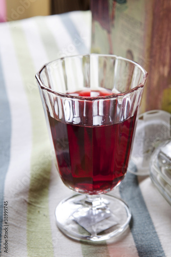 cut glass of red wine