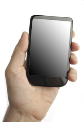 Modern smartphone in a male hand on white