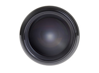 Modern DSLR lens on white background