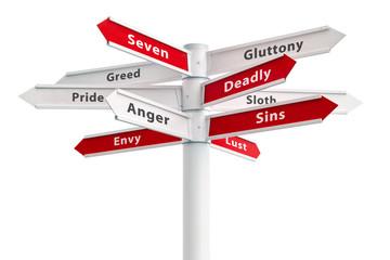 Seven Deadly Sins On Crossroads Sign