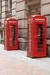 England - red telephone booths in Birmingham