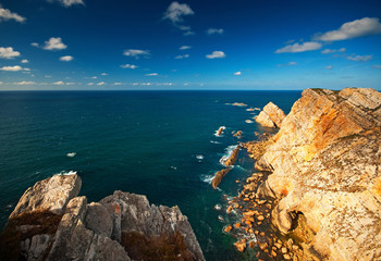 Panoramic of the cliffs of Cabo de Peñas in Asturias