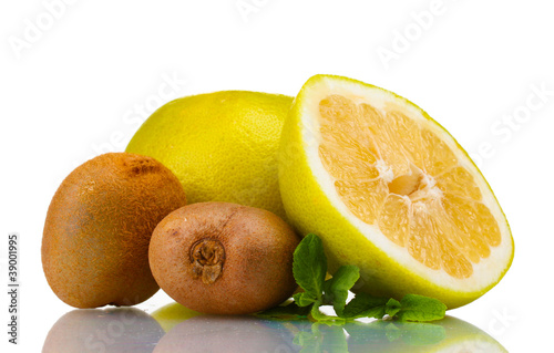 Pomelo or Chinese grapefruit and kiwi isolated on white