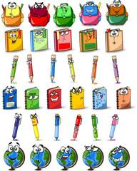 Мультфильм школьные ранцы, книги, тетради, ручки, миру