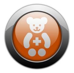 """Orange Metallic Orb Button """"Pediatrics"""""""