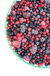 Frozen mixed fruit in glass bowl - berries