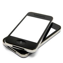 2 Smartphones weißer Bildschirm