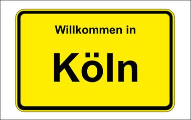 Ortsschild: Willkommen in Köln