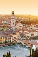 Verona from high - Ponte Pietra - Italy