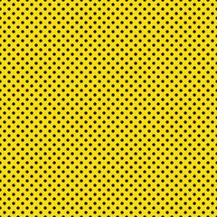 Seamless Black Dots on Bright Yellow Background Wallpaper