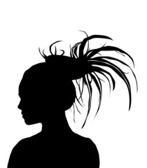 Dreadlock girl silhouette