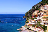 View towards the coastal town of Positano, Italy