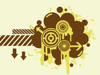 Brown abstract background with circles and arrows