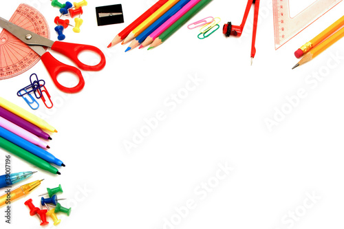 Border of school supplies
