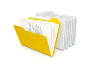 Row of folders with different orange one isolated on white