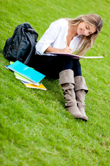Girl studying at the park