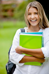 Female student laughing