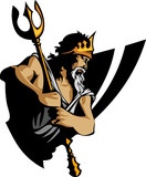 Titan Mascot with Trident and Crown Graphic Vector Illustration poster