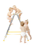Group of babies climbing on stepladder, fighting for first place