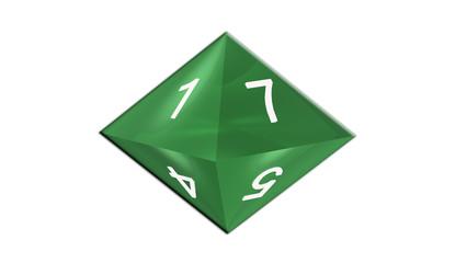 Dé 8 faces vert