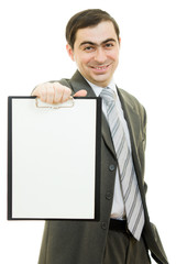 A businessman with a white blank sheet of paper