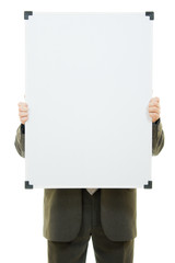 Businessman covered his face with a white board