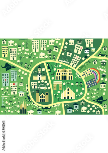 Spoed canvasdoek 2cm dik Op straat cartoon seamless map of milan