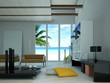 Modern living room, with window on tropical beach.