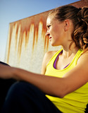 Portrait of Determined Girl in Fitness Clothing poster