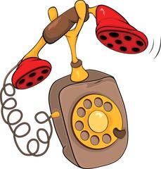 Old phone. Cartoon