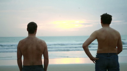 Male friends looking at sunset by the sea