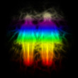Rainbow silhouette with aura - woman and man
