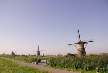 Wind mills in Kinderdijk in the Netherlands