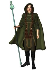 Travelling Magic User with Staff and Cloak