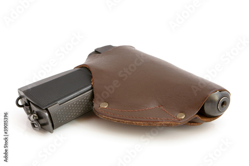 Pistol in a holster
