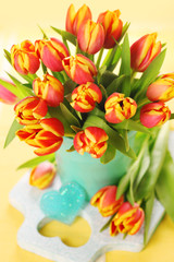 Festive spring bouquet tulips in vase