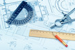 The plan industrial details, a protractor, caliper, divider and