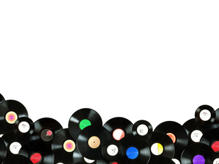 Abstract music colorful background made of vintage vinyl records
