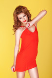 Sexy Redhead In Short Red Dress