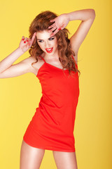Vivacious Redhead In Red Miniskirt