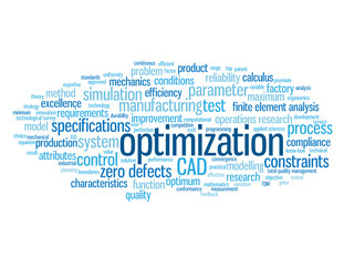 """OPTIMIZATION"" Tag Cloud (design cad manufacturing engineering)"
