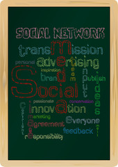 social network concept,blackboard, vector illustration