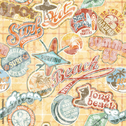 Vintage beach labels seamless pattern
