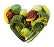 grünes herz, gelegt aus obst und gemüse