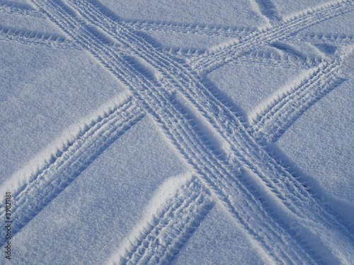 Car tracks on the snow